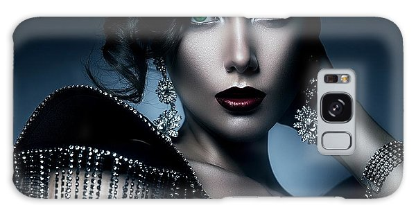 Lady Green Eyes Galaxy Case by Karen Showell