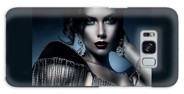 Lady Green Eyes Galaxy Case by Karen Showell