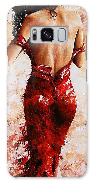 Lady In Red #24 Large  Galaxy Case by Emerico Imre Toth