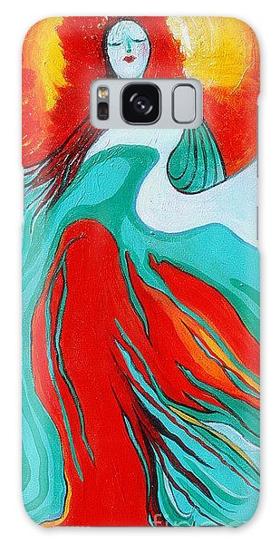 Lady Of Two Worlds Galaxy Case by Alison Caltrider