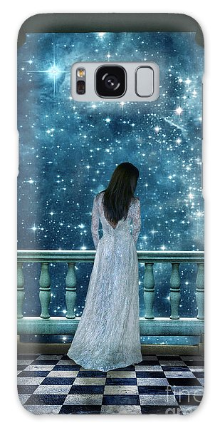 Lady On Balcony At Night Galaxy Case