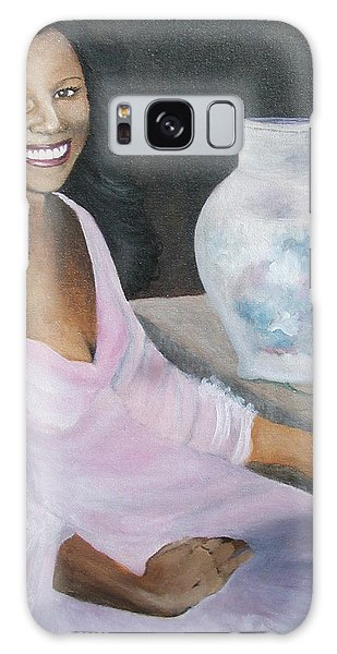 Lady With Pink Rose Galaxy Case