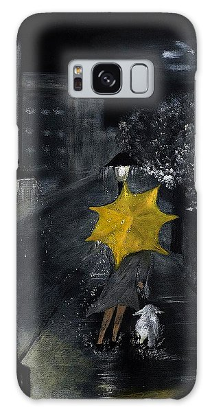 Lady With Yellow Umbrella And White Dog Galaxy Case