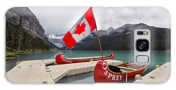 Lake Louise Canoes And Flag Galaxy Case