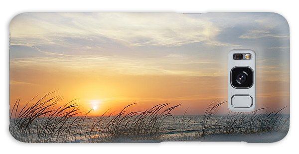 Lake Michigan Sunset With Dune Grass Galaxy Case by Mary Lee Dereske