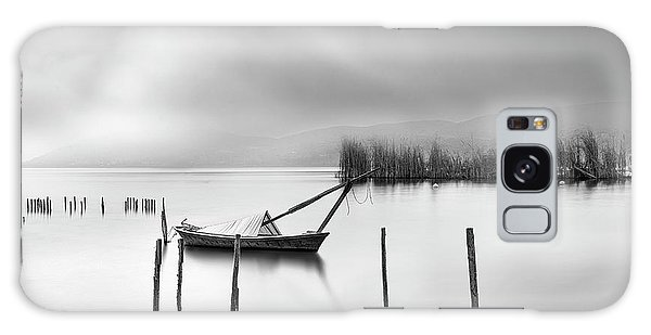 Pier Galaxy Case - Lake View With Poles And Boat by George Digalakis