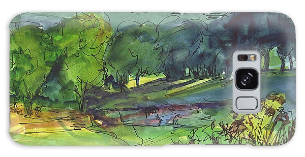 Landscape Lakeway Texas Watercolor Painting By Kmcelwaine Galaxy Case