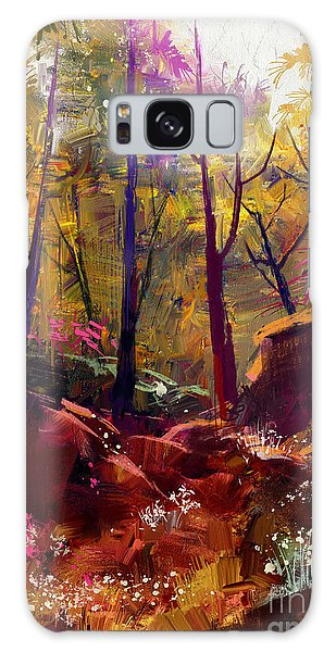 Environments Galaxy Case - Landscape Painting Of Beautiful Autumn by Tithi Luadthong