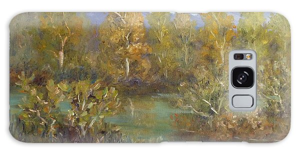 Landscape River And Trees Paintings Galaxy Case