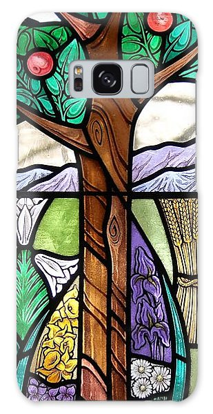 Landscape With Flora Galaxy Case by Gilroy Stained Glass