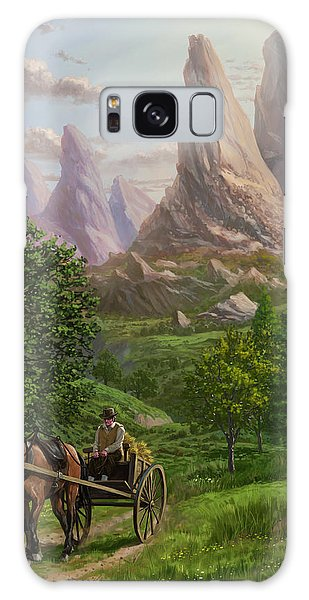 Landscape With Man Driving Horse And Cart Galaxy Case