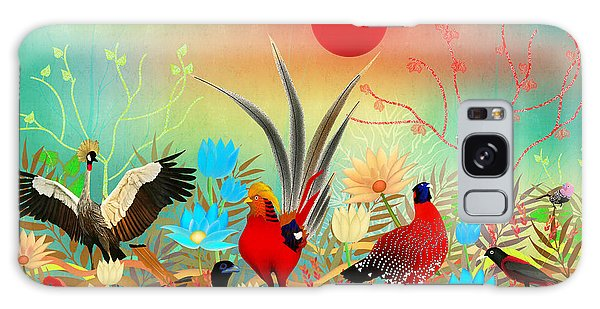 Landscapes With Birds And Red Sun - Limited Edition Of 15 Galaxy Case by Gabriela Delgado