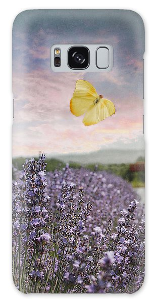 Lavender Field Pink And Blue Sunset And Yellow Butterfly Galaxy Case