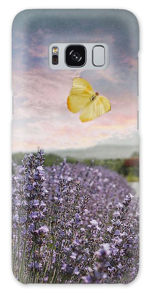 Lavender Field Pink And Blue Sunset And Yellow Butterfly Galaxy Case by Brooke T Ryan