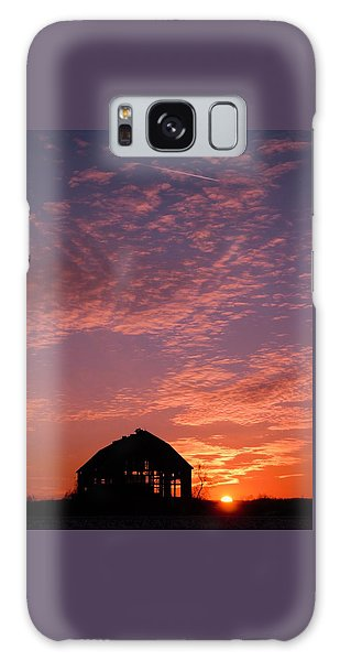 Lavender Sunset Silhouette Galaxy Case