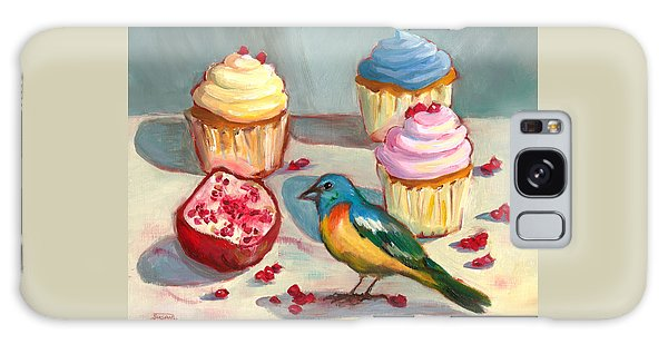 Lazuli Bunting And Pomegranate Cupcakes Galaxy Case by Susan Thomas