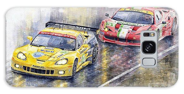 Men Galaxy Case - 2011 Le Mans Gte Pro Chevrolette Corvette C6r Vs Ferrari 458 Italia by Yuriy Shevchuk