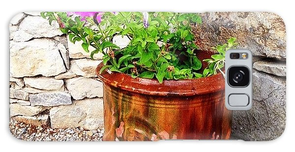 Decorative Galaxy Case - Anduze Flower Pot With Petunias by Cristina Stefan