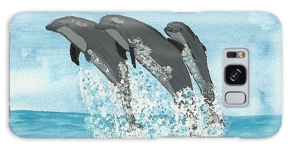 Leaping Dolphins Galaxy Case by Tracey Williams