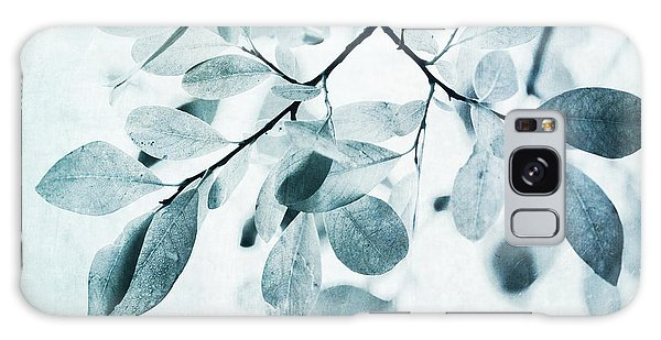 Galaxy Case - Leaves In Dusty Blue by Priska Wettstein