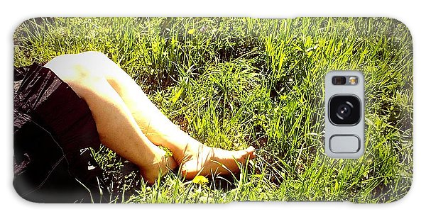 Legs Of A Woman And Green Grass Galaxy Case by Matthias Hauser