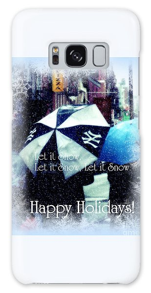 Let It Snow - Happy Holidays - Ny Yankees Holiday Cards Galaxy Case by Miriam Danar