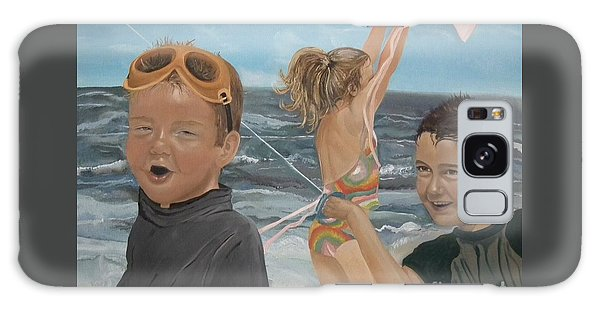 Beach - Children Playing - Kite Galaxy Case by Jan Dappen