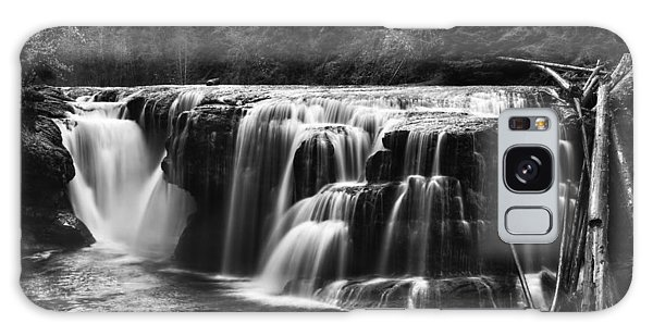 Lewis River Lower Falls Black And White Galaxy Case