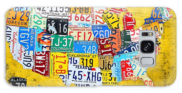 Recycle Galaxy Case - License Plate Art Map Of The United States On Yellow Board by Design Turnpike