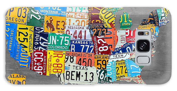 Recycle Galaxy Case - License Plate Map Of The United States On Gray Wood Boards by Design Turnpike