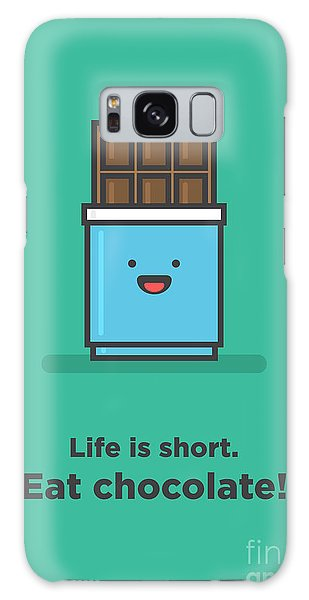 Vector Galaxy Case - Life Is Short. Eat Chocolate Line Art by Orange Vectors