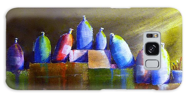 Light And Shadow On Paint Bottles Galaxy Case