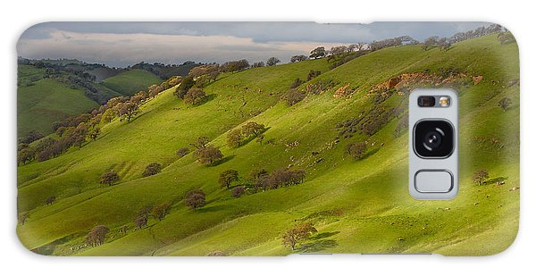 Light And Shadows On A Green Hillside Galaxy Case