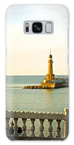 Lighthouse - Alexandria Egypt Galaxy Case by Mary Machare