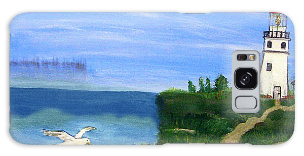 Lighthouse And Seagull 2 Galaxy Case by Mindy Bench