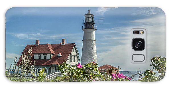 Lighthouse And Wild Roses Galaxy Case by Jane Luxton