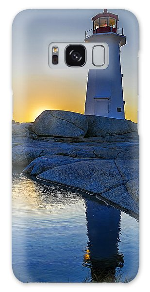 Lighthouse At Sunset Galaxy Case by Ken Morris