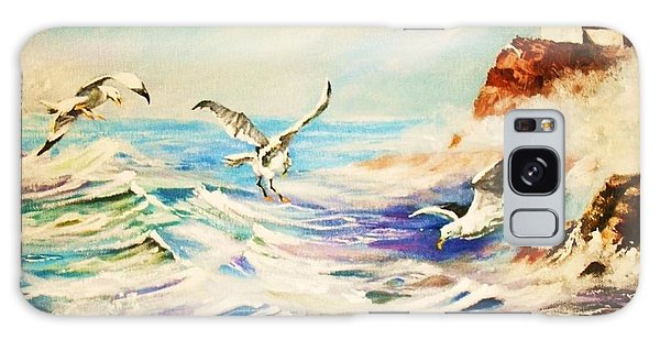 Lighthouse Gulls And Waves Galaxy Case