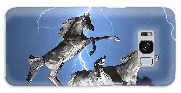 Lightning At Horse World Bw Color Print Galaxy Case