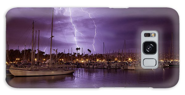 Lightning Behind Santa Barbara Harbor  Mg_6541 Galaxy Case by David Orias