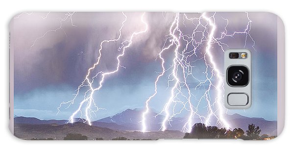 Lightning Striking Longs Peak Foothills 4c Galaxy Case