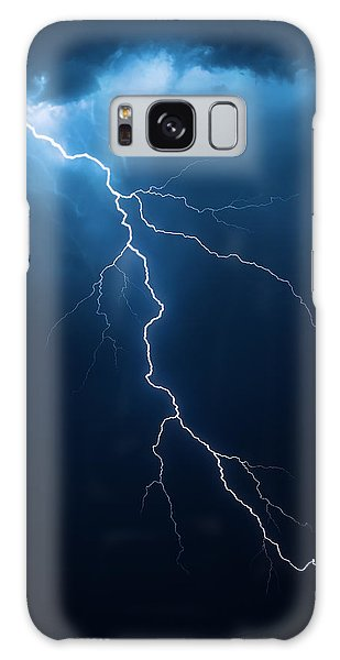 Powerful Galaxy Case - Lightning With Cloudscape by Johan Swanepoel