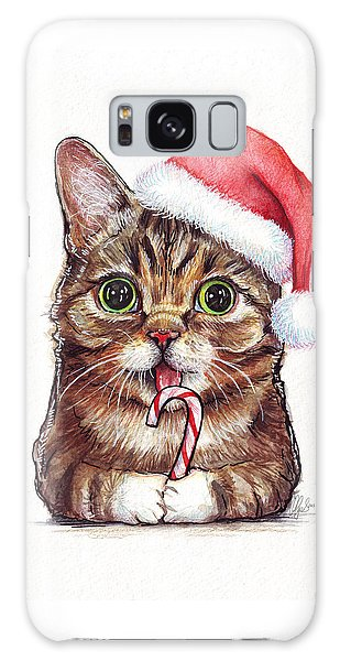 Watercolor Pet Portraits Galaxy Case - Cat Santa Christmas Animal by Olga Shvartsur