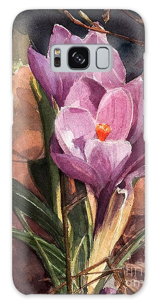 Lilac Crocuses Galaxy Case