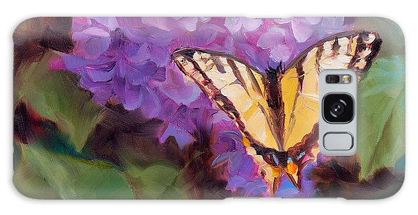 Lilacs And Swallowtail Butterfly Purple Flowers Garden Decor Painting  Galaxy Case