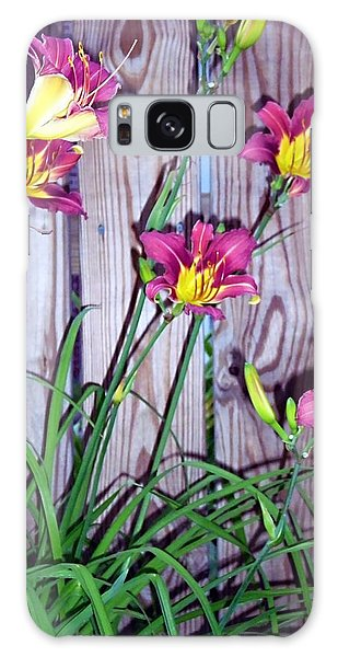 Lilies Against The Wooden Fence Galaxy Case