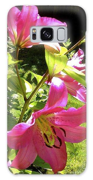 Lilies In The Garden Galaxy Case by Sher Nasser