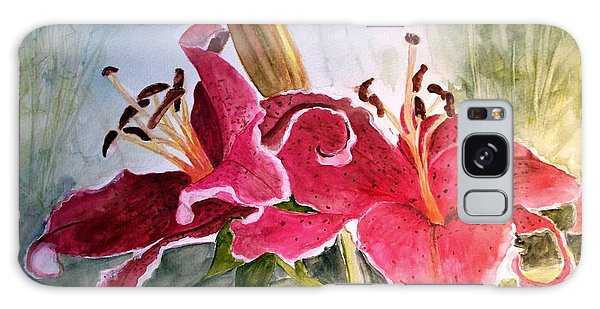 Lilies Turned Tiger Galaxy Case by Carol Grimes