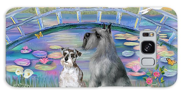 Lily Bridge With Twoo Schnauzers Galaxy Case by Jean B Fitzgerald