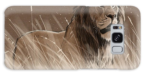 Lion In The Grass Galaxy Case